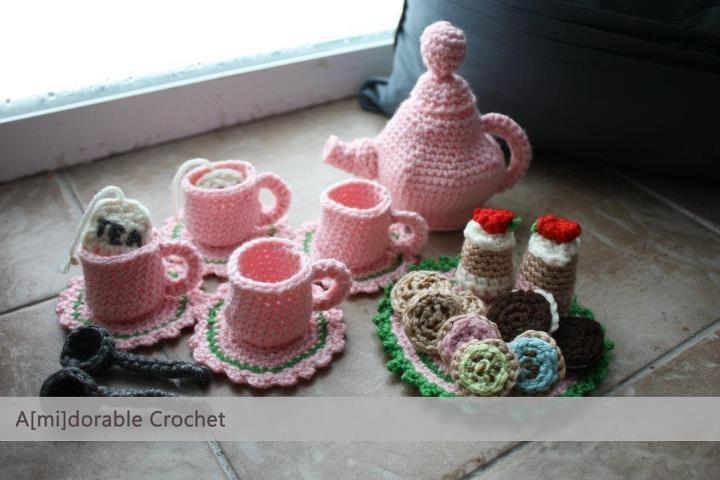 A[mi]dorable Crochet: Tea Time Play Set PatternTea Time, Tea Sets, Teas Time, Play Sets, Sets Pattern, Time Plays, Teas Sets, Plays Sets, Crochet Pattern