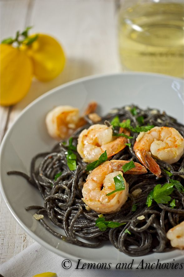 Squid Ink Spaghetti with Shrimp and White Truffle Oil @Jean | Lemons and Anchovies