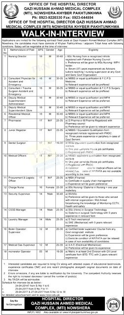 Government Jobs for Nurses in KPK   Nursing Director BPS-18 Male and Charge Nurse BPS-16 Female Government Jobs at Qazi Hussain Ahmed Medical Complex Nowshera KPK.