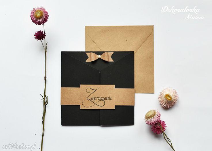 Zaproszenie ślubne tamika zaproszenia eleganckie czarne nietypowe ekologiczne czarny elegancki