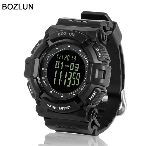 2016 BOZLUN Brand New Multi-function Man Pedometer Barometer Sport Watch Air Pressure Altitude Luminous Digital Watches Running Mountaineering Hiking Outdoors Wristwatch Altimeter Thermometer Alarm Stopwatch 50m Water Resistant Shockproof