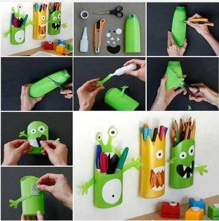 Shampoo Verpackungen kreativ verwenden - Idee für Kinderzimmer