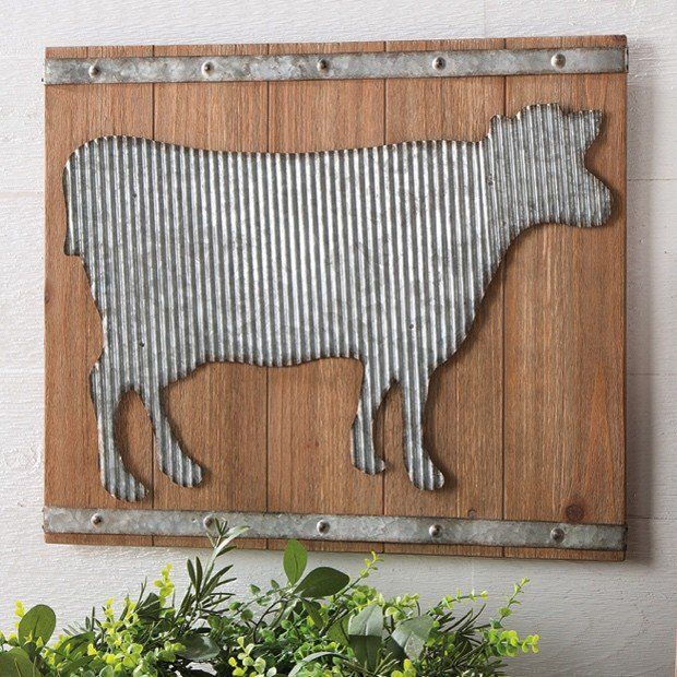 Corrugated Metal Cow Wall Art