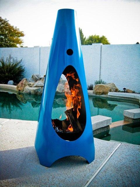 Fancy - Modfire Modern Outdoor Fireplace Bright Blue