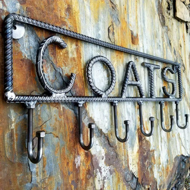 Farmersmetals.etsy.com Rustic industrial coat rack! Rebar coat rack, industrial decor, rustic home decor, metal art, 6 hook coat rack, bolt art, welding art, scrap metal art deco, steel coat rack, wall hooks, hand forged coat rack