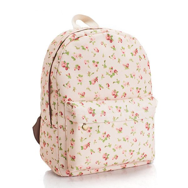 Floral Printed Pink Canvas Backpack on Luulla