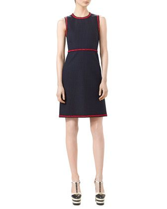 Gucci Polka-Dot Sleeveless Dress, Ink/Red/White $1800 FP
