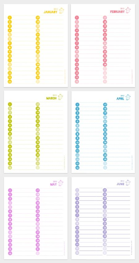 Free 2013 Colorful Monthly Calendar Printables