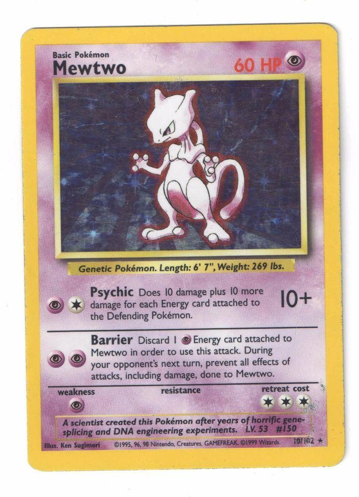 Mewtwo 10102 holo rare unlimited pokemon base set heavily