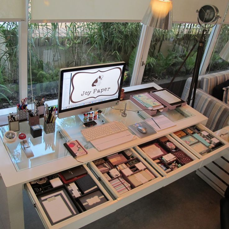 Organized Desk #drawers #table #glass #white #home #office