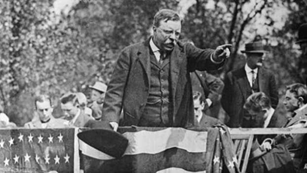 "On Oct. 14, 1912, Progressive Party candidate Roosevelt was scheduled to give a 90-minute speech outside a Milwaukee hotel. But before he could begin, an unemployed saloonkeeper shot the former president. Despite this, Roosevelt stood up in front of the crowd and began, ""I don't know whether you fully understand that I have just been shot."" Roosevelt removed the bullet-ridden manuscript from inside his jacket and revealed his blood-stained shirt. Roosevelt reportedly completed his full…"