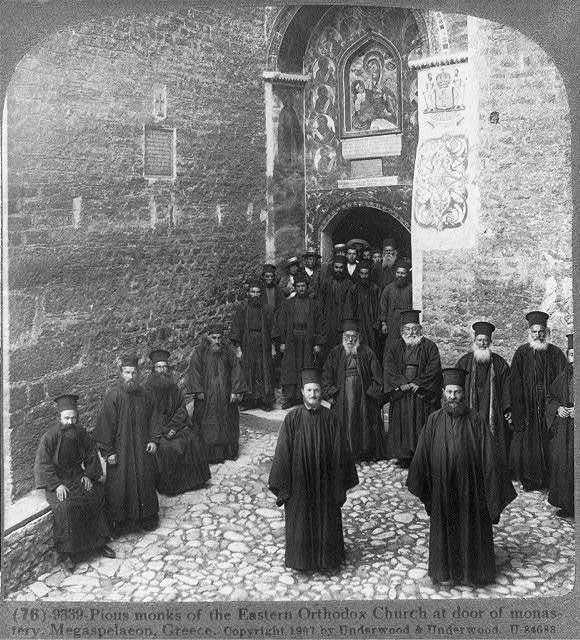 Pious Monks,Eastern Orthodox Church,Monastery,Megaspelaeon,Greece,1907,Kalavryta