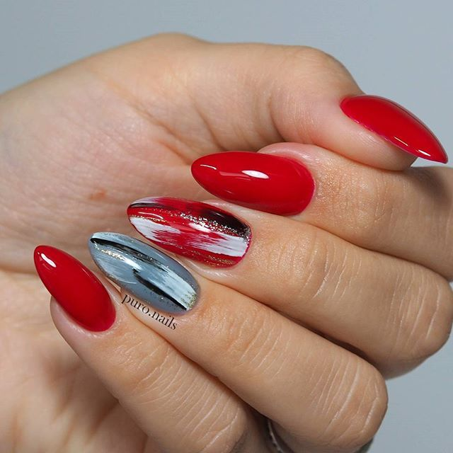 Time for something red  amazing red 0731 and pretty grey shade 0725 from @sophinpolska and full of artistic mess nail art    Check a tutorial for this manicure. Link in my bio :)  #nailart #nailsoftheday #nails #nail #hybrydnails #hybrydymanicure #instant #instanail #nails2inspire #paznokciehybrydowe  #paznokcie  #nailartist_manicure #nails #nailswag #gelnails #nailsmagazine  #nailru #nailstagram  #nailitdaily #nailpro  #instagramnails  #sophinpolska #czerwone #rednails #sophincosmetics...