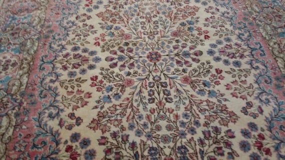 4 x 6 foot Stunning Floral Pattern Turkish Carpet,Beautiful Authentic Hand knotted Double weft Durable for Trafic Area Turkish Oushak Carpet