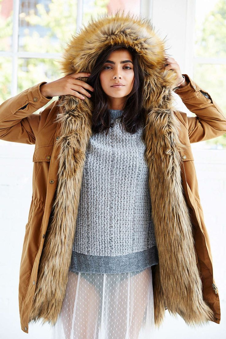 Hooded Parka with Faux Fur Lining La Redoute Collections Lovely and long, super warm parka with faux fur lining to beat the chill in style this oldsmobileclub.gat details: • Length - long line • Hood • Zip.