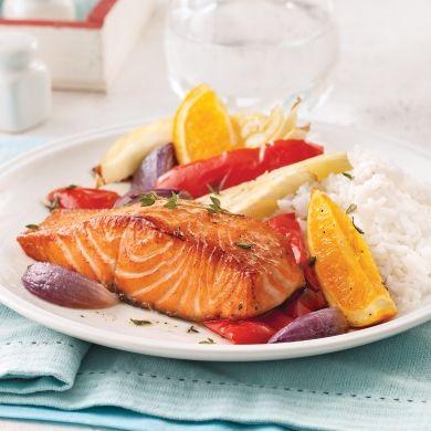 Saumon à l'orange et légumes au four - Recettes - Cuisine et nutrition - Pratico Pratique