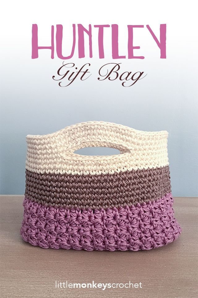 Huntley Gift Bag / Basket Crochet Pattern | Free teacher gift bag / basket crochet pattern by Little Monkeys Crochet | ☂ᙓᖇᗴᔕᗩ ᖇᙓᔕ☂ᙓᘐᘎᓮ http://www.pinterest.com/teretegui