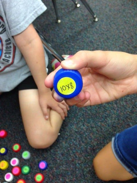 Pop Top Math for practicing basic math facts. Write answer on the other side.