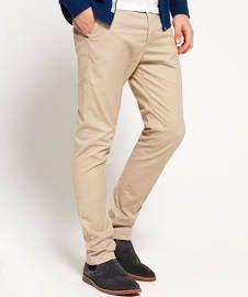 Superdry Men's City Slim Chino Trousers Beige Size: XXXL 32