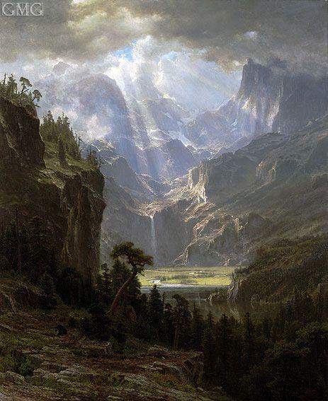 Rocky Mountains, Lander's Peak - Albert Bierstadt #Hudsonriverschool #American #landscape #painting