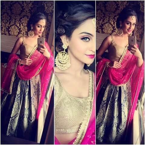 Krystal dsouza in her brother's wedding. The combinations though! ♡