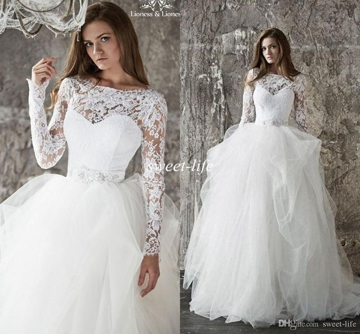 Long Sleeves Wedding Dresses 2016 Lace Keyhole Back Beads Sash Ruffle Tulle Bateau Ball Gown Princess Sheer Spring Fall Bridal Wedding Gowns Online with $131.04/Piece on Sweet-life's Store | DHgate.com