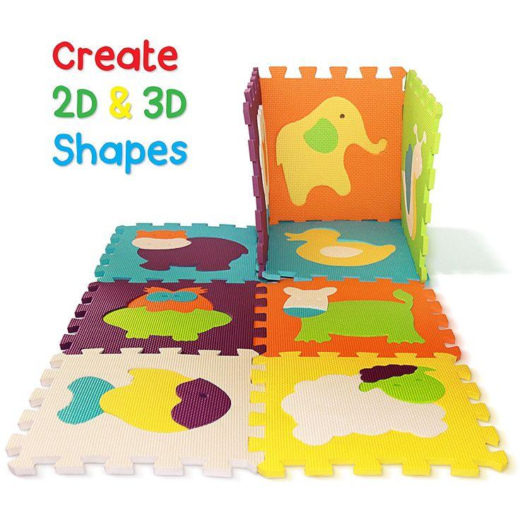 Alfombra de Juego Puzzle - Piezas de Puzzle de Encaje que Promueven el Desarrollo Sensorial Visual - Alfombra Suave para Niños - 9 Azulejos con Vibrantes Imágenes para Capturar la Atención del Niño - Azulejos de Suelo de Goma - EVA Mat - No Tóxico: Amazon.es: Juguetes y juegos