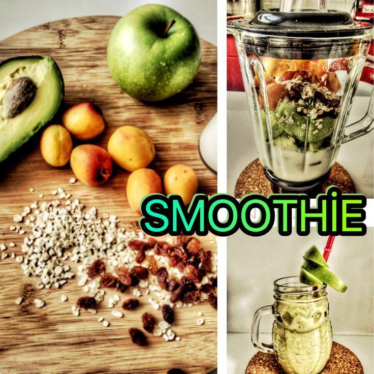 Kahvaltı için sağlıklı bir smoothie tarifi. Malzemeler: 1 elma Yarım avokado 1 çay bardağı kefir 1 çay bardağı su 5-6 kayısı 2 yemek kaşığı yulaf 1 yemek kaşığı kuru üzüm 5-6 küp buz