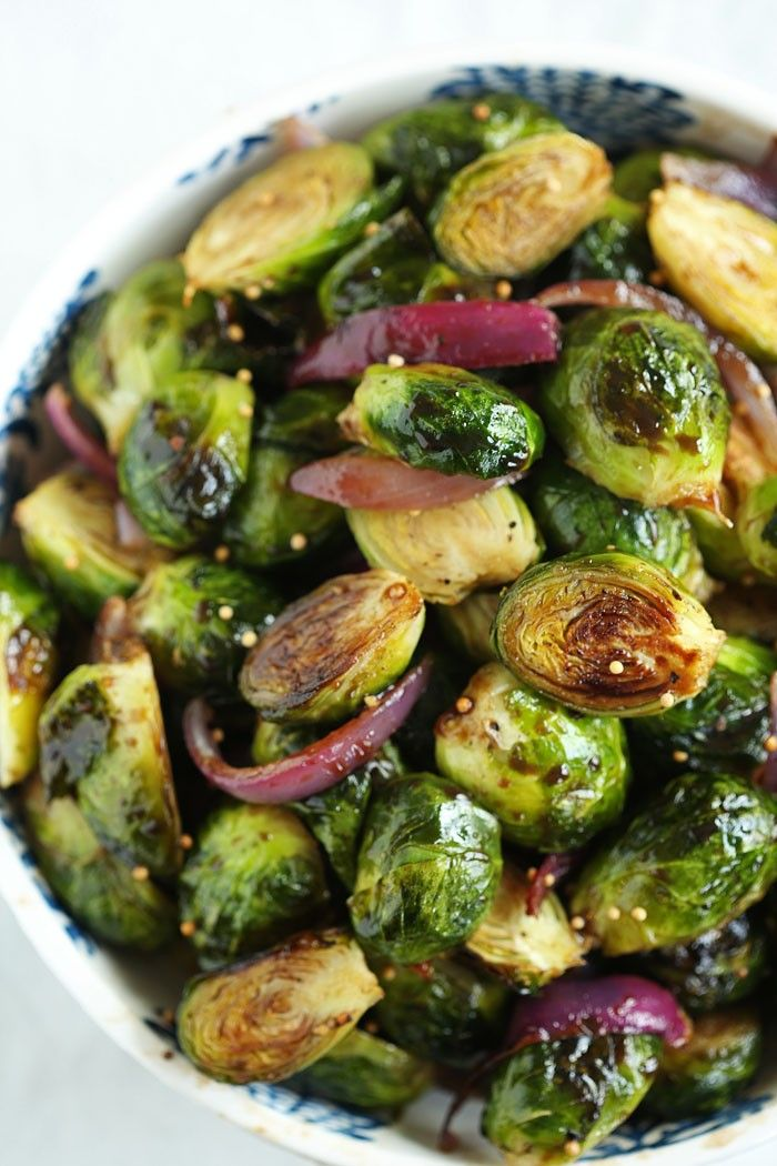 Balsamic Roasted Brussels Sprouts - Eat Yourself Skinny *Use an alternative sweetener to honey if desired.