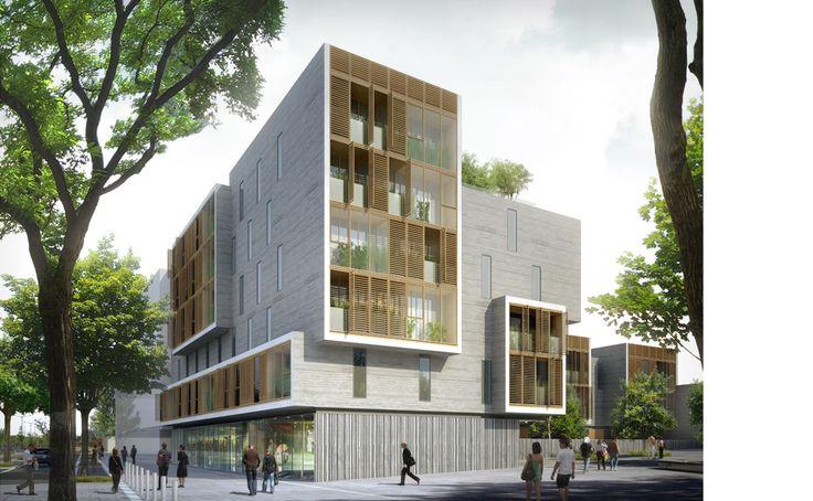 Ameller, Dubois Associés - Architecture - Nantes - Complexe de logements, foyer, commerces