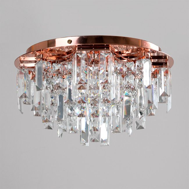 Prague 5 Way Lead Crystal Flush Ceiling