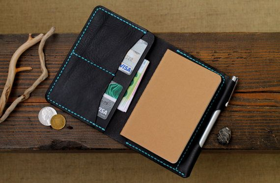 Leather Wallet Organizer Moleskine Cover Daily Diary