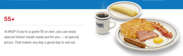 At IHOP, if you're a guest 55 or over, you can enjoy a special senior discount on a number of items from our Senior menu. See the full Senior menu here.