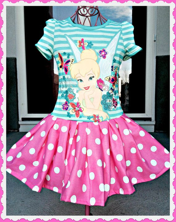 girls Custom boutique Disney TINKERBELL twirl Dress with Bling size 2T 3T and 4T