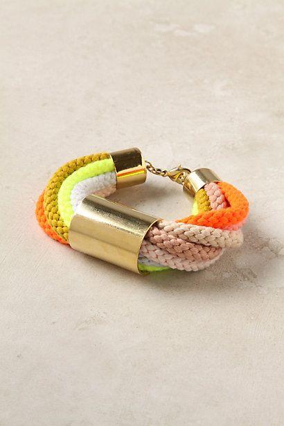 Corded Neon Bracelet: Cords Bracelets, Neon Jewelry, Neon Bracelets, Anthropology Bracelet3, Braids Bracelets, Cords Neon, Neon Colors, Ropes, Accessor Jewelrywi