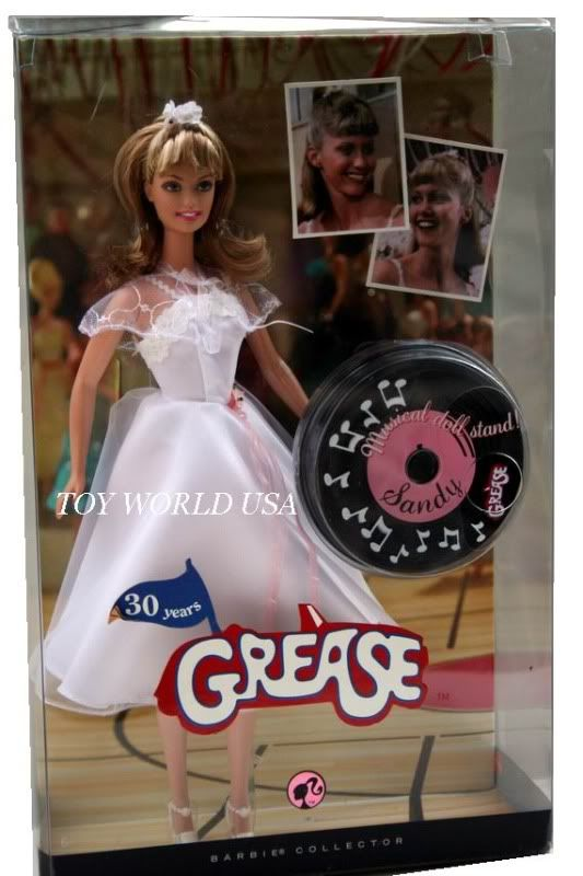Sandy Olsson (Olivia Newton-John) of Grease Dance-Off Pink Label Barbie Collector Series Doll by Mattel, Released June 1, 2008