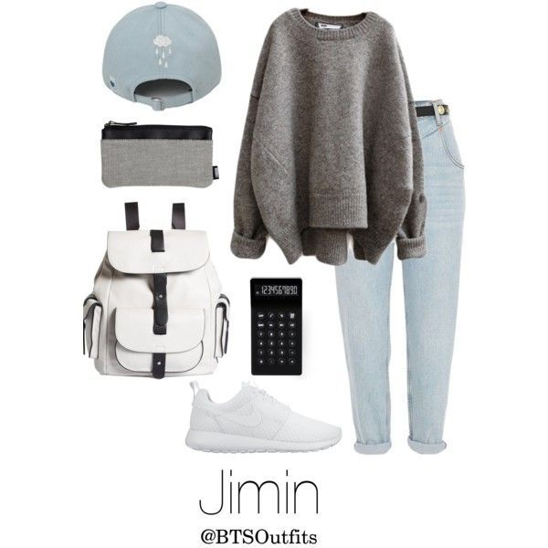 School with Jimin by btsoutfits on Polyvore featuring River Island, NIKE, Kenneth Cole Reaction, LEXON, women's clothing, women's fashion, women, female, woman and misses