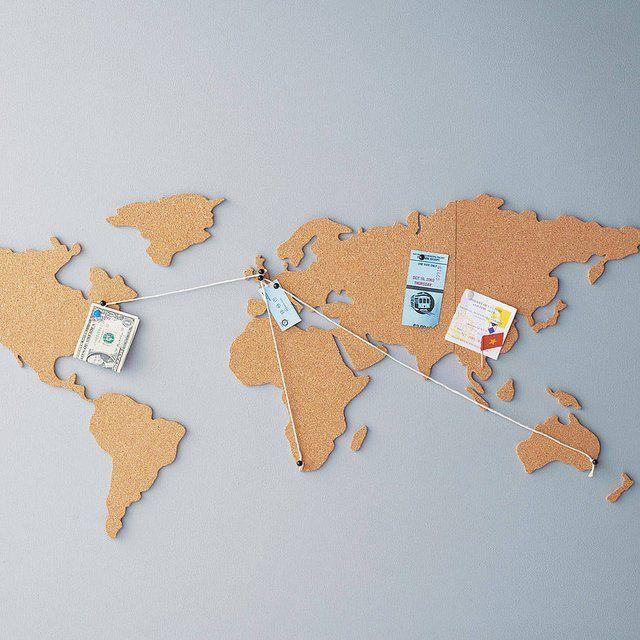 Mappa del mondo in sughero, per il vero viaggiatore