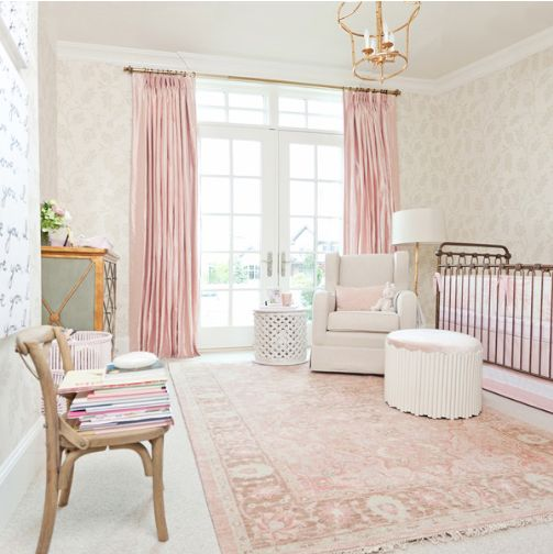 Rachel Parcell Nursery Design Blush Gold Pinks On Trend Soft Coloring