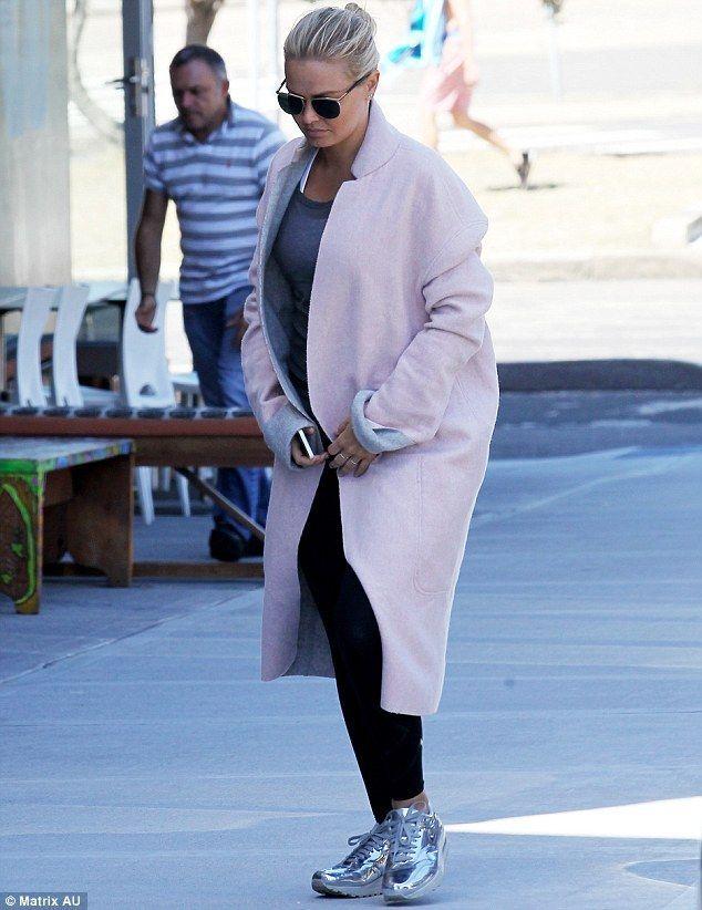 Lara Bingle x Pale Pink Coat x Silver Nike's