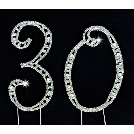 30th Birthday Cake Topper, 30th Rhinestone Cake Topper, 30th Cake Topper, 30th Anniversary Cake Topper, 30th Silver Cake Topper