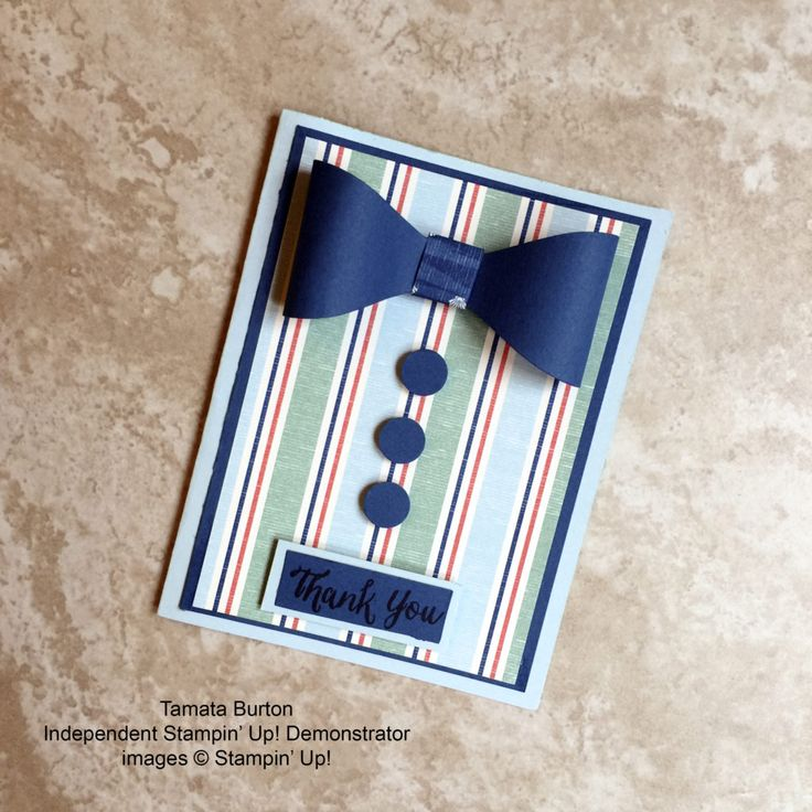 stampcandy.net, Stampin' Up!, By the Shore DSP, masculine manly thank you card, Tamara's June 2016 swap card