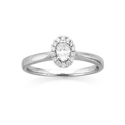 18ct Halo Oval Diamond Ring Total Diamond Weight=.33ct