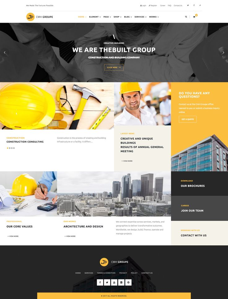 Construction Website Design Ideas. WordPress Template