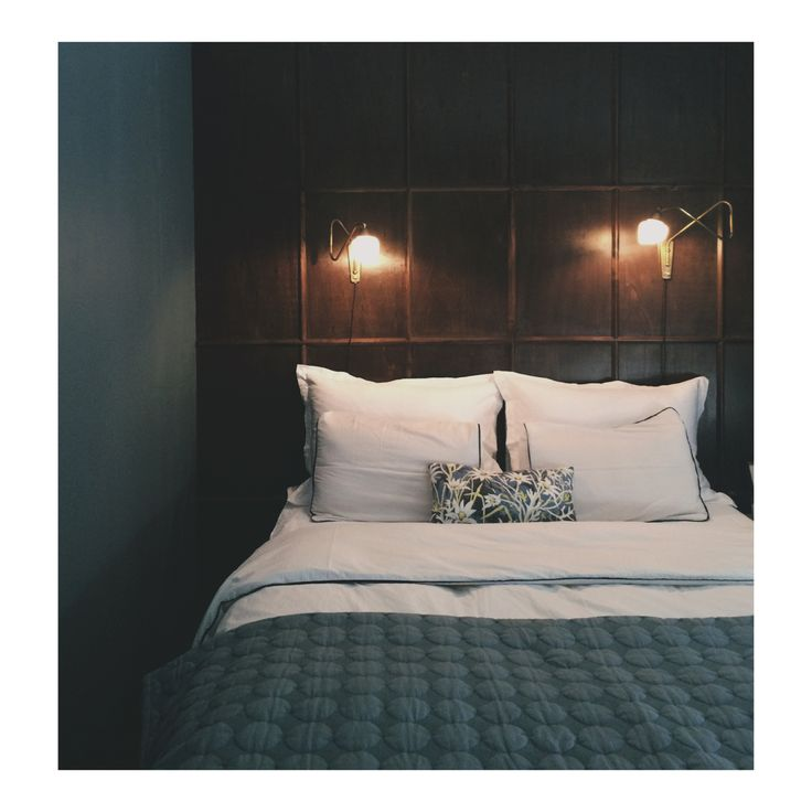 Bedroom summer project finally completed.  DIY panel wall, St. Paul's blue by Jotun + Frama on walls.
