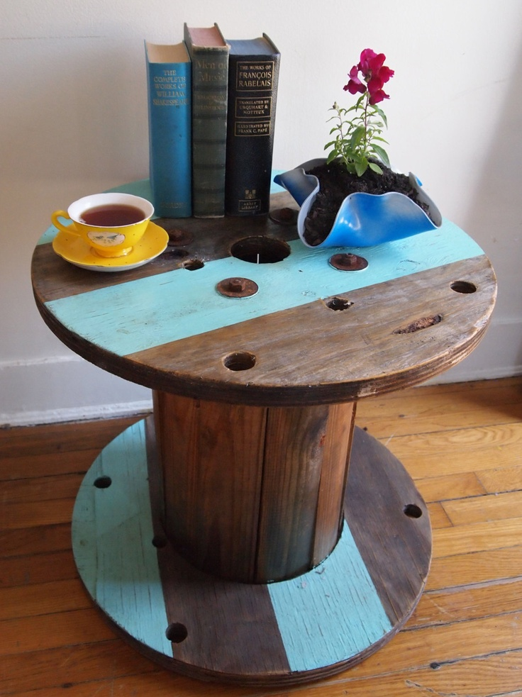 Wire spool striped side table weathered pine by for Wire reel table