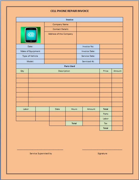 Cellphone Repair Invoice Service Template Cell Phone Repair Invoice Template Phone Repair