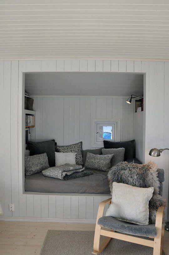 Right about now I'm seeking out the coziest spots in my house, perfect for holing up and reading some great books. I would kill for a built-in spot, dedicated and perfectly set up for quick escapes. This one (from Design*Sponge) has so many perfect elements, I could just move in. Here are some things that I might do to create one of my own (and you can do too!).