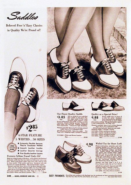 """Saddles, 1942.............I had to wear these to school when they were no longer popular...as """"corrective shoes.""""   All my shoes were purchased from Farners Shoe Store, located at 1918 S Dale Mabry. It was owned by Sam and Bessie Edelstein, and run by their son, Michael, since Sam's passing in 1970. Sadly they closed their doors after 68 years of business, in the Carriage Trade Plaza. They were the only store in Tampa that carried AAAA width shoes for my narrow feet."""