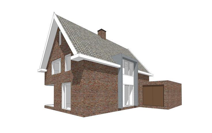 3D perspectief van entreegevel en voorgevel met aangebouwde garage.